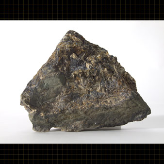 A rock that contains two minerals : sphalerite, brown in colour, and galena, which is metallic grey.